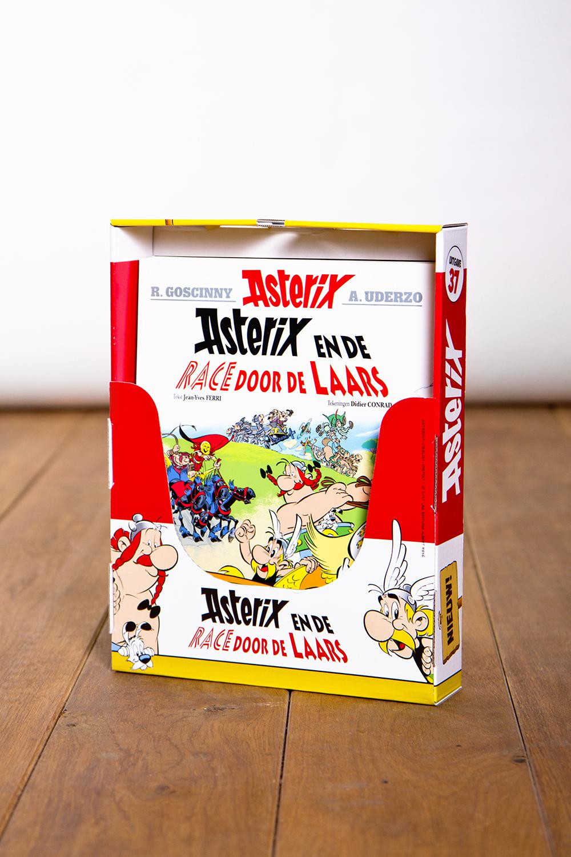Asterix en Obelix promotionele verpakkingen schapbak